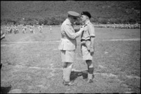 Lieutenant Colonel J B Ferguson receives the DSO from General Freyberg in the Volturno Valley, Italy, World War II - Photograph taken by George Kaye