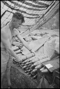 Gun crew of one of NZ Divisional Artillery guns on the Cassino Front, Italy, World War II - Photograph taken by George Kaye