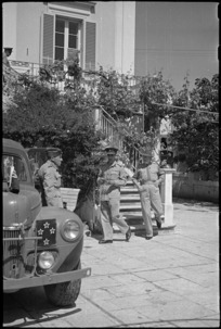 Brigadier Kenrick and Prime Minister Peter Fraser leaving 2 NZEF Officers' Mess at Santo Spirito, Italy, World War II - Photograph taken by George Bull