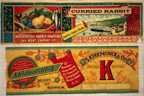 Marlborough Rabbit Trapping and Meat Export Company. Curried rabbit, trapped rabbit brand / Wilson & Horton lith, Auckland [and] S Kirkpatrick & Co. Trade mark K registered - Brawn, Irish stew, ox tongues, Scotch haggis, boiled fowl, &c, &c. [ca 1900].