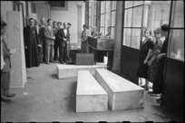Coffins of German sniper victims in temporary morgue at San Felice Convent in southern Florence, Italy, World War II - Photograph taken by George Kaye