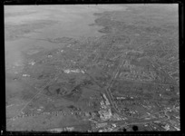 Suburban Bus Company Coverage, view to Penrose, Onehunga and the Gloucester Reserve with the Mangere Road Bridge and Manukau Harbour, Auckland City