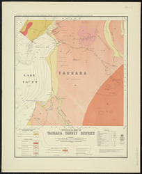 Geological map of Tauhara survey district [cartographic material] / drawn by G.E. Harris.
