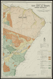Geological map of East Cape and Waiapu survey districts [cartographic material] / drawn by G.E. Harris.