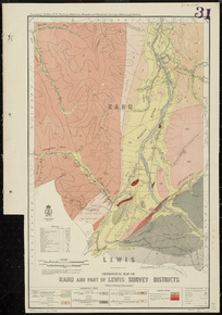 Geological map of Rahu and part of Lewis Survey Districts [cartographic material] / drawn by G.E. Harris, 1935.