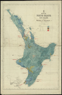 Map of the North Island, New Zealand shewing density of population, 1882 (exclusive of Maoris) [cartographic material] ; Map of the Middle Island, New Zealand shewing the density of population, 1882 (exclusive of Maoris).