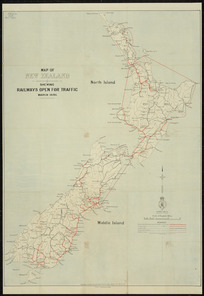 Map of New Zealand shewing railways open for traffic, March 1895 [cartographic material].