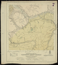 Geological plan of Turiwhate survey district [cartographic material] / compiled and drawn by R.J. Crawford, May 1906.