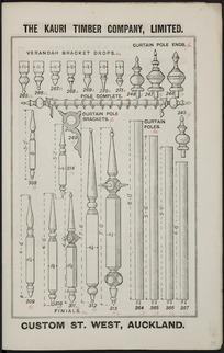 The Kauri Timber Company Ltd (Auckland Office) :Verandah bracket drops, curtain pole ends, curtain pole brackets, curtain poles, [and] finials. [Catalogue page. ca 1906].