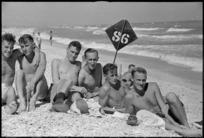 World War 2 New Zealand soldiers on the beach near Ancona, Italy