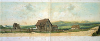 Abraham, Caroline Harriet, 1809-1877 :[Panorama of St John's college, Tamaki, Auckland ... Auckland ; St John's College? 1862?. Part four] Well. Mr Paris' house. Waiatarua Lake. Hunter's house. Farmyard. One Tree Hill. Carpenter's shop. Mount Eden.