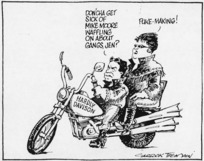 Tremain, Garrick, 1941- :Don'cha get sick of Mike Moore waffling on about gangs, Jen? Otago Daily Times, 30 March 1998.