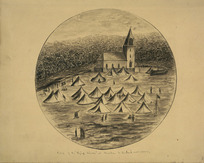 """Carbery, Andrew Thomas H 1836-1870 :Camp of the """"Flying Column"""" at Mauku, N[ew] Zealand War, 1863 - [186]4"""