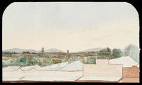 Artist unknown :Across the main street of Te Aroha looking westwards across the Hauraki Plain towards Morrinsville [ca 1900-1904]