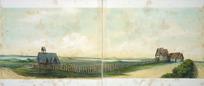 Abraham, Caroline Harriet, 1809-1877 :[Panorama of St John's college, Tamaki, Auckland ... Auckland ; St John's College? 1862?. Part two] St Thomas' Church, Tamaki. College Chapel. Maori boys' school. Primary school.