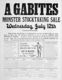 A. Gabites (Timaru) :Monster stocktaking sale, Wednesday, July 12th. Timaru Post Print [1880s?].