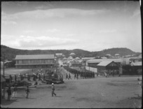 New Zealand troops marching in Apia, Western Samoa, during World War 1