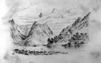Hodgkins, William Mathew, 1833-1898 :[Mitre Peak, Milford Sound. ca 1880] W M H