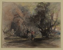 Martens, Conrad, 1801-1878 :[Explorers or Roundhead soldiers outside a cave, and near a tree. 1640s? Painted 1840s?]
