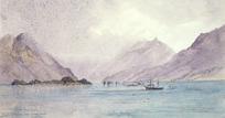 Hodgkins, William Mathew, 1833-1898 :Small craft, Harbour Islets, Cunaris Sound [187-?]