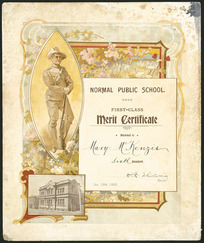 [Dunedin] Normal Public School :First-class merit certificate awarded to [Mary McKenzie, sixth] standard. [D R White, M.A.], rector. Dec 19th 1900. Caxton Co, litho, Dunedin [1900]