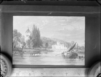 Copy photograph of a print showing a country scene, with people on barges, a church and a mansion, by an unknown artist, ruler is underneath image and it was taken during Williams' European trip