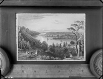 Copy photograph of a print of an [English?] countryside with people overlooking an unknown river, by [W Taylor & Co?], also showing ruler under print and taken during Williams' European trip