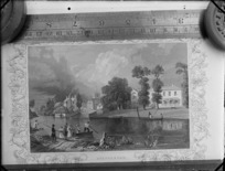 Copy photograph of an engraving by steel engraver [H Winklas d'apre?] of the English village of Shepperton and people in rowboats, ruler is underneath image and it was taken during Williams' European trip