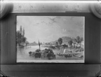 Copy photograph of a print showing river and village scene with people on barges and boats, by [Le Petit sculp?], also showing ruler above image and taken during Williams' European trip