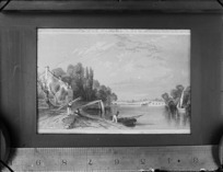 Copy photograph of a print showing [English?] country scene, with men, boats and an arch bridge, by unknown artist, also showing a ruler underneath print and taken during Williams' European trip