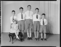 Unidentified group of six children, possibly members of the Newman family
