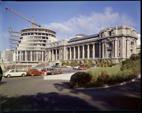 Construction of The Beehive, Parliament Grounds, Wellington