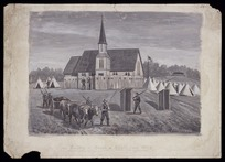 Messenger, Arthur Herbert, 1877-1962 :Mauku - Church and military camp, 1863. 1922