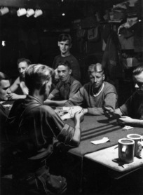 Prisoners of war playing bridge at Stalag 383, Hohenfels, Bavaria, Germany