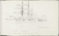 [Hodgkins, William Mathew] 1833-1898 :The Landseer at Dunedin Wharf. Dec 96 Hulk Elinor Vernon.