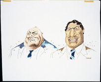 Hodgson, Trace, 1958- :[Rob Muldoon and Winston Peters caricatures] New Zealand Listener, 28 April 1991.