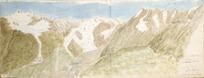 Haast, John Francis Julius von (Sir), 1822-1887 :The Selwyn Glacier; source of River Dobson, with the Naumann Range. 26 April 1861