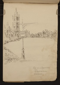 O'Grady, James, 1882?-1956 :Rue de la Republique, and St Martin's Tower, Cambrai [1918]