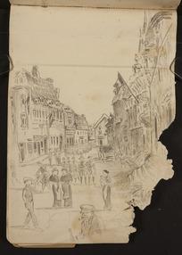 O'Grady, James, 1882?-1956 :[French street scene, possibly in Solesmes. 1918]