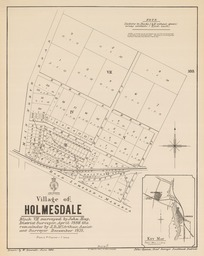 Village of Holmesdale [electronic resource] : Block VII surveyed by John Hay, District Surveyor, April 1886, the remainder by J.D. McArthur, Assistant Surveyor December 1871 ; drawn by W. Deverell, June 1886.
