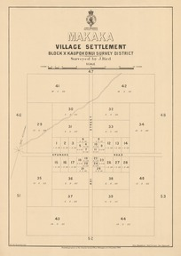 Makaka village settlement [electronic resource] : Block X Kaupokonui Survey District / surveyed by J. Bird.