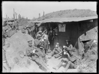 Soldiers at a roadside YMCA canteen near the Front, World War I