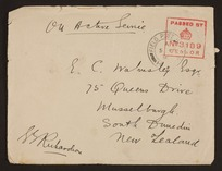 Richardson, George Spafford (Major-General Sir), 1868-1938 : Letter to E C Walmsley re his war experiences