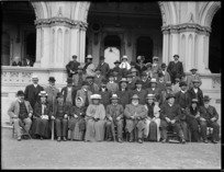 Maori group outside the General Assembly Library, Parliament Buildings, Wellington