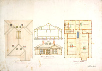 Tait, Robert 1830-1926 :[Ground floor and upper floor plans, front elevation and longitudinal section of two-storeyed house for John Paul. 1880-1910].