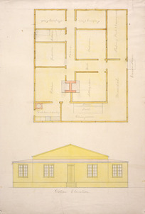 Tait, Robert 1830-1926 :[Ground plan and western elevation of single-storey house. 1870-1890s].