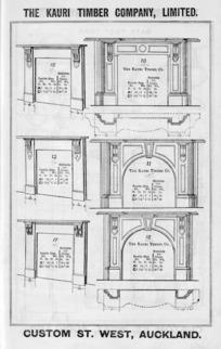The Kauri Timber Company Ltd (Auckland Office) :[Mantelpieces, models 10,11,15,16,17,18. Catalogue page. ca 1906].