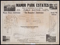 Manor Park estates [cartographic material] : plans of subdivisions to be sold by public auction, 2 p.m., Saturday, 1st December 1928 / [surveyed by] Seaton, Sladden & Pavitt.