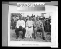 Richard John Seddon with King John and Queen, Mangaia, Cook Islands