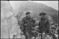 World War 2 New Zealand soldiers, during a break in the fighting round Monte Cassino, Italy